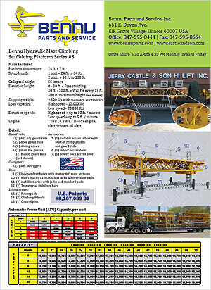 Bennu Hydraulic Mast-Climbing Scaffolding Platform Series #3 spec sheet PDF