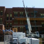 Bennu Parts and Service - Bennu Scaffolding Platform Series 3 - Iwanski Masonry - jobsite - Burbank School - Chicago, Illinois